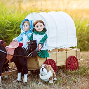 The Queen's Treasures Officially Licensed Little House on The Prairie Covered Wagon & Sleigh Conversion Kit! Fits 2 Dolls & 2 Horses. Furniture and Accessory Compatible with American Girl Dolls! .