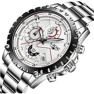 LIGEメンズ 腕時計 ビジネス ファッション アナログ 防水 時計 スーツ 多機能 スポーツウォッチステンレス シルバー