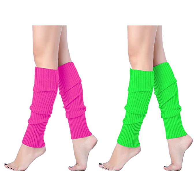 7afb61e46fd10 V28Women Winter 80s Eighty's Warm Leg Warmers Knitted Long Socks (one size,  2 pack