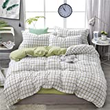 Duvet Cover Set 4 Pieces Single Queen King Twin Full Size, Morbuy Bedding Set 4 pcs Reversible Printed Microfiber Soft with 1 Quilt Cover 2 Pillowcases 1 Sheets (AU Double-180x210cm,Green Plaid)