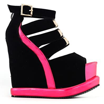 dc60714fcd56 SHOW STORY Punk Black Open Toe Gladiators High Heels Sandals