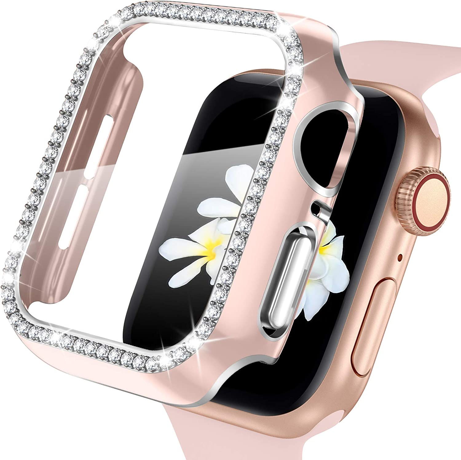 ZAROTO for Apple Watch case 40mm with Tempered Glass Screen Protector for iwatch Series 6/5/4/SE, Bling Crystal Diamond Rhinestone Bumper Full Cover Protective Case Women Girls 40mm Pink