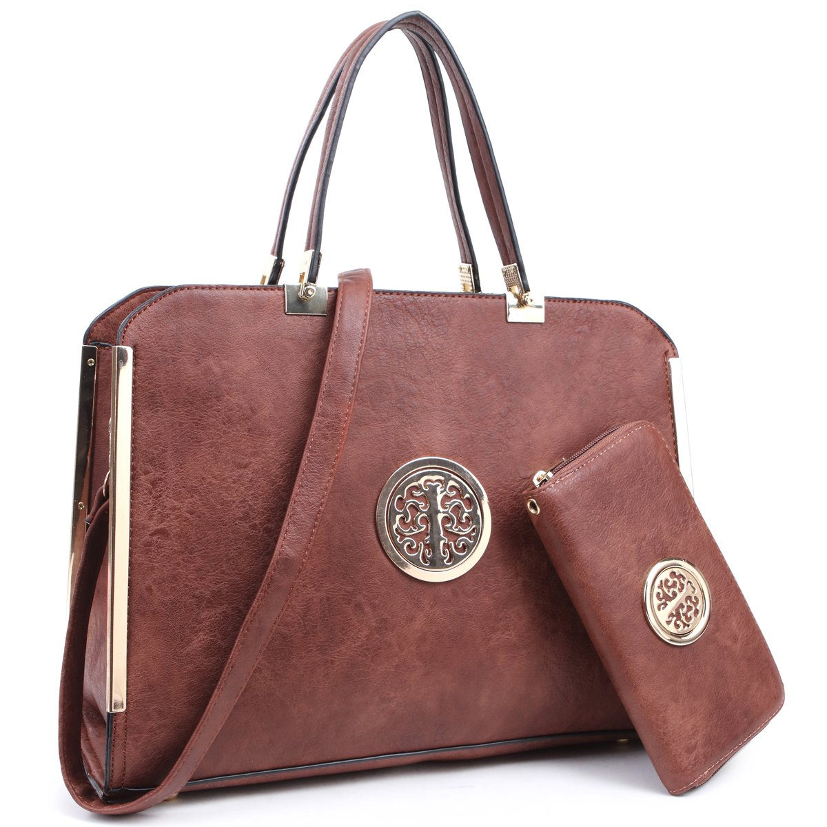 Women's Fashion Handbags Satchel Shoulder Bags Top Handle Purse with Matching Wallet(13-6900-W-CF)