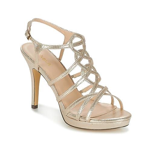 60% de liquidación nuevo alto moda atractiva Sandalia Fiesta MENBUR en Tejido Glitter Oro, Tacon 7cm con ...