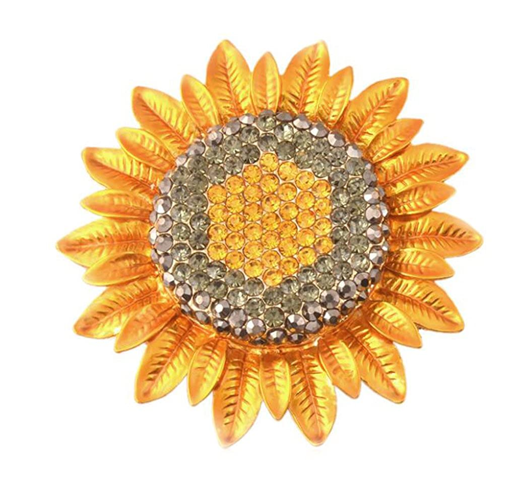 Sunflower Diamonds Scarf Buckle Badge Brooch Shirt Corsage Brooch and Pin for Women Gudeke