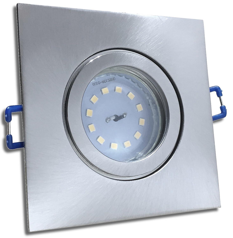 4 Stück IP44 SMD LED Bad Einbaustrahler Aqua 230 Volt 5 Watt 3-Stufen Dimmbar Eckig Eisen geb.   Neutralweiß