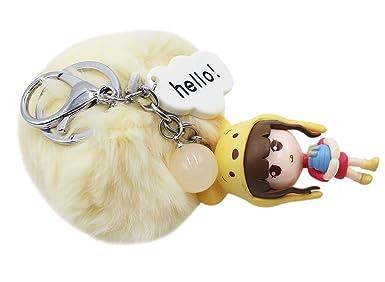 Amazon.com: aibearty llavero lindo Pom Pom Girl llavero ...