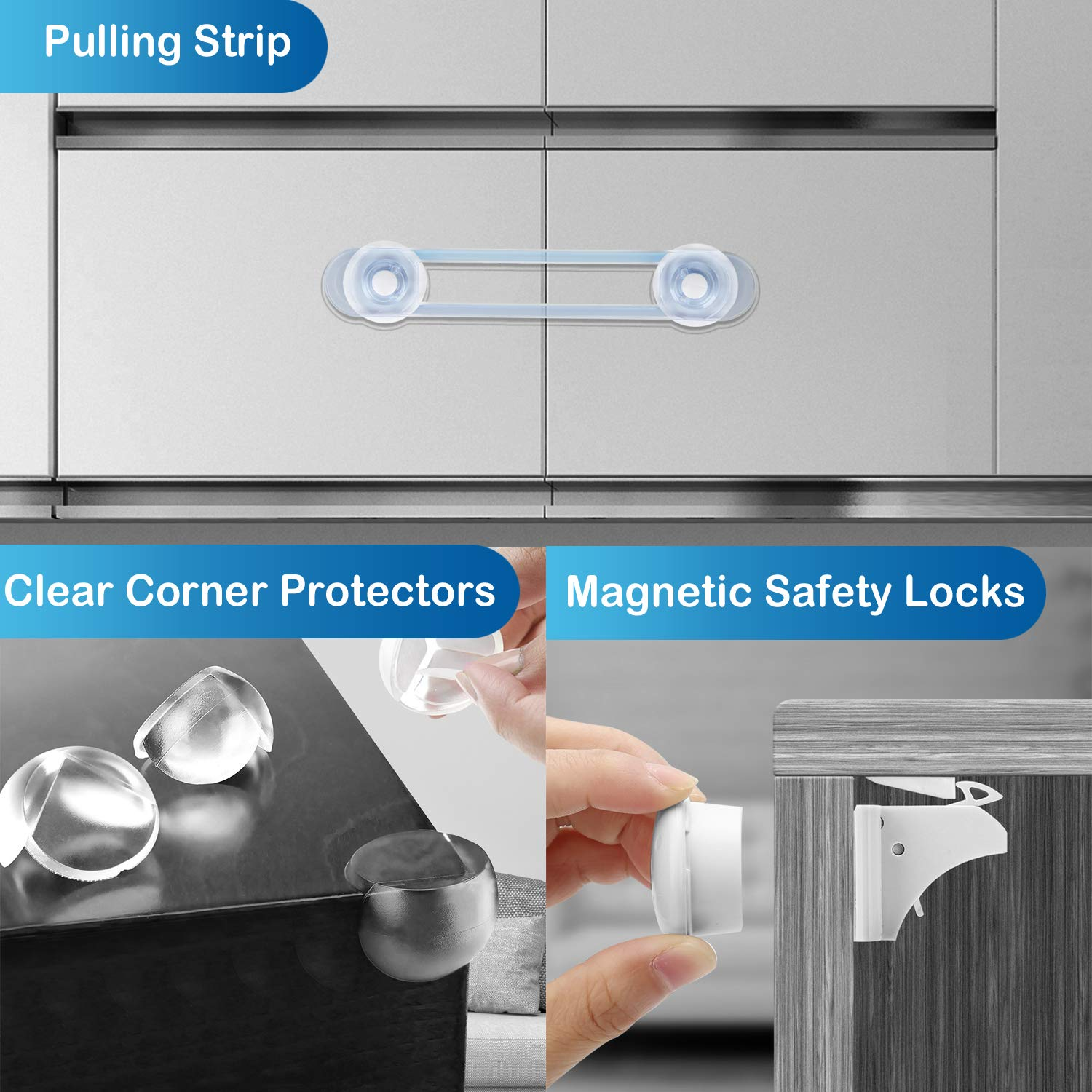 32 Pcs Child Safety Cupboard Locks 6 Baby Safety Cupboard Straps 8 Cupboard Locks+2 Keys Baby Proofing Kit 16 Corner Protectors No Drill Required- Best Baby Safety Set