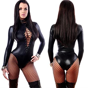 XSQR Femme Sexy Simili Cuir Latex Lingerie sous-vêtements Manches Longues à  Lacets Catsuit Boîte b81d853707b