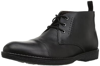 CLARKS Men's Hinman Mid Chukka Boot, Black Leather, ...