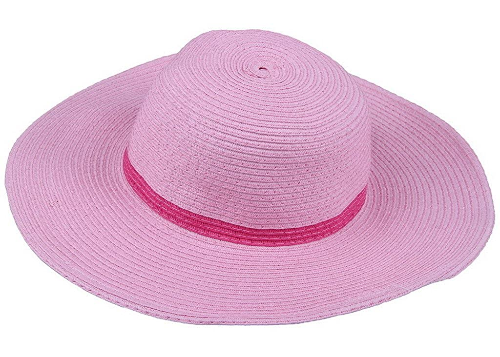 YiyiLai Summer Pure Color Wide Brim Beach Dome Sun Outdoor Travel Straw Hat Pink YiyiLai159