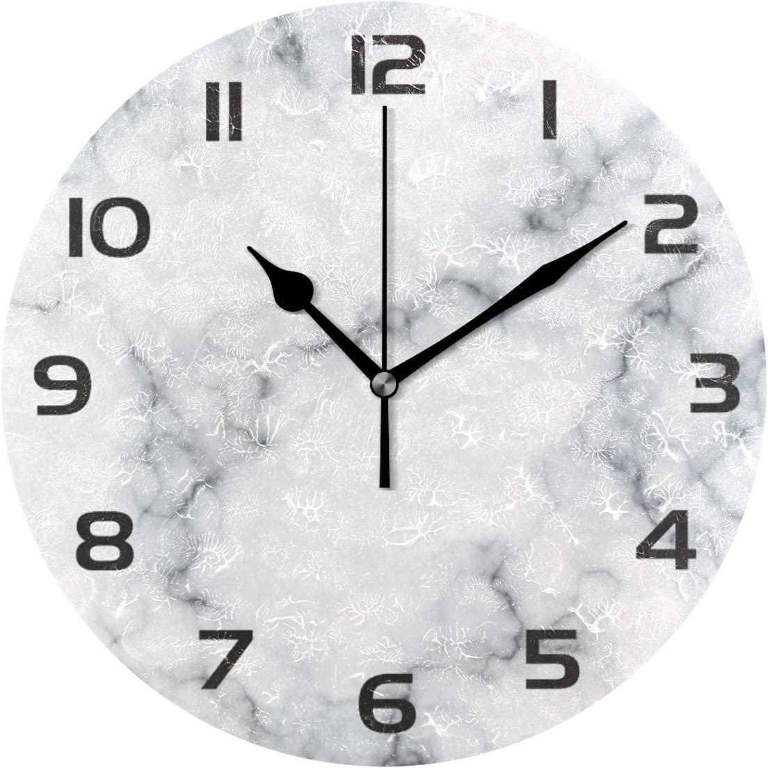 One Bear Modern White Marble Texture Wall Clock, Silent Non Ticking Battery Operated Vintage Round Clocks for Kitchen Home Office School Decorative