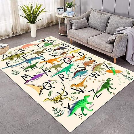 Sleepwish Area Rug Cute Dinosaur Large Carpet for Living Room Bedroom  Colorful Alphabet Non-Slip Kids Boys Playing Room Mat (4\' x 6\')
