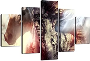 Extra Large Native American Figure Home Decor Artwork Indian Warrior Feather Headdress and Horse Wall Art 5 Panel Paintng on Canvas Print Framed for Living Room Stretched Ready to Hang(60''Wx40''H)