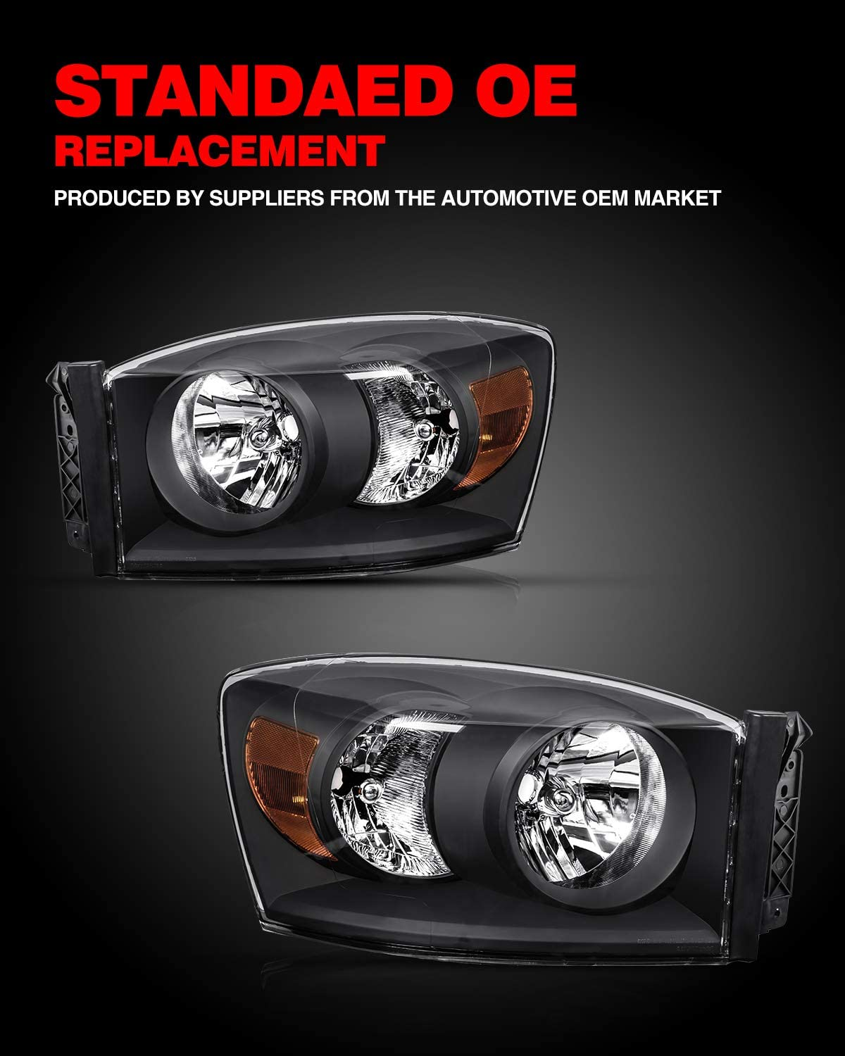 OE# 68003125AB Black 68003124AA KAC Headlight Housing for Replacement Headlight Assembly for Ram