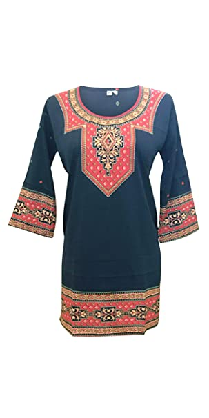 b04b84f0fb7 Image Unavailable. Image not available for. Color: Tunique Black Womens  Indian kurti Tunic Top ...