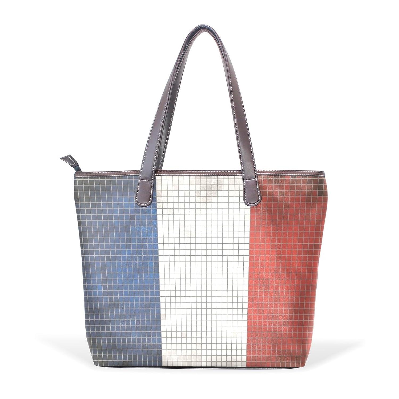 Womens Leather Tote Bag,Mosaic World Flag French,Large Handbag