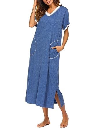 wholesale dealer 3a78b 26a60 Teaio Lang Nachtkleid Kurzarm Damen Nachthemd Damen Sleepshirt Nachtwäsche  V-Ausschnitt Umstandskelid Hauskleid Locker Schlafkleid Schwarz Rosa Lila  ...