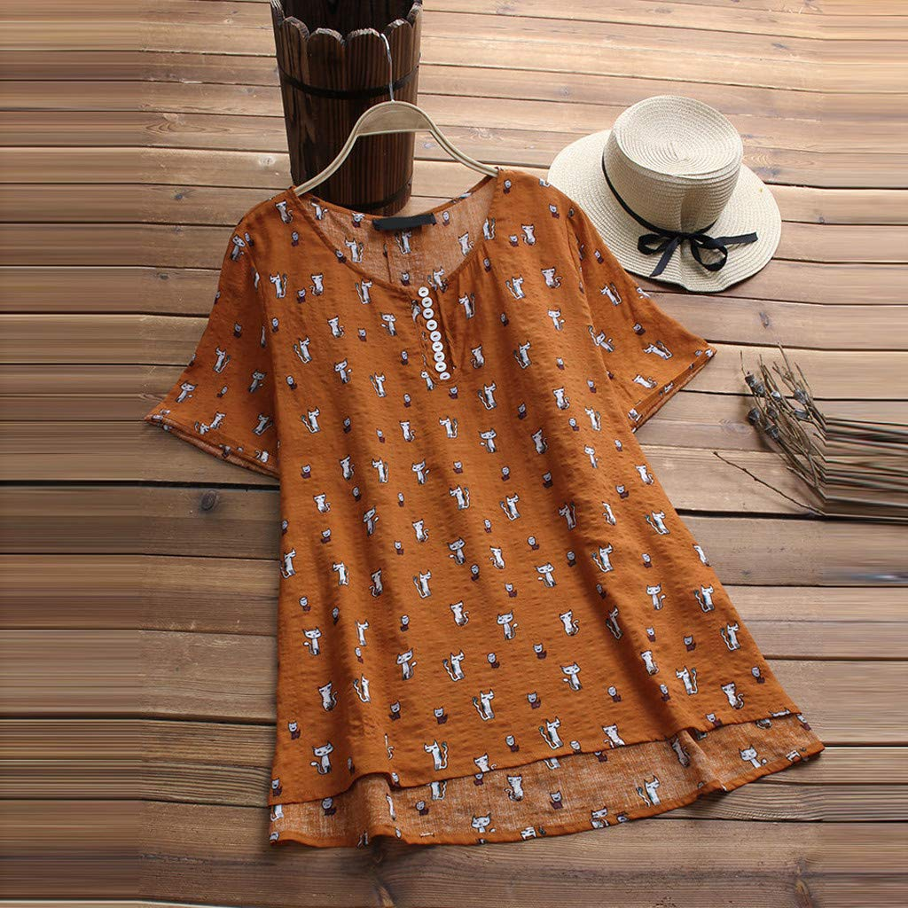 DORIC 2019 New Girls Womens Tops Blouse Asymmetrical Short Sleeve Cat Print O-Neck Casual Vintage T-Shirts