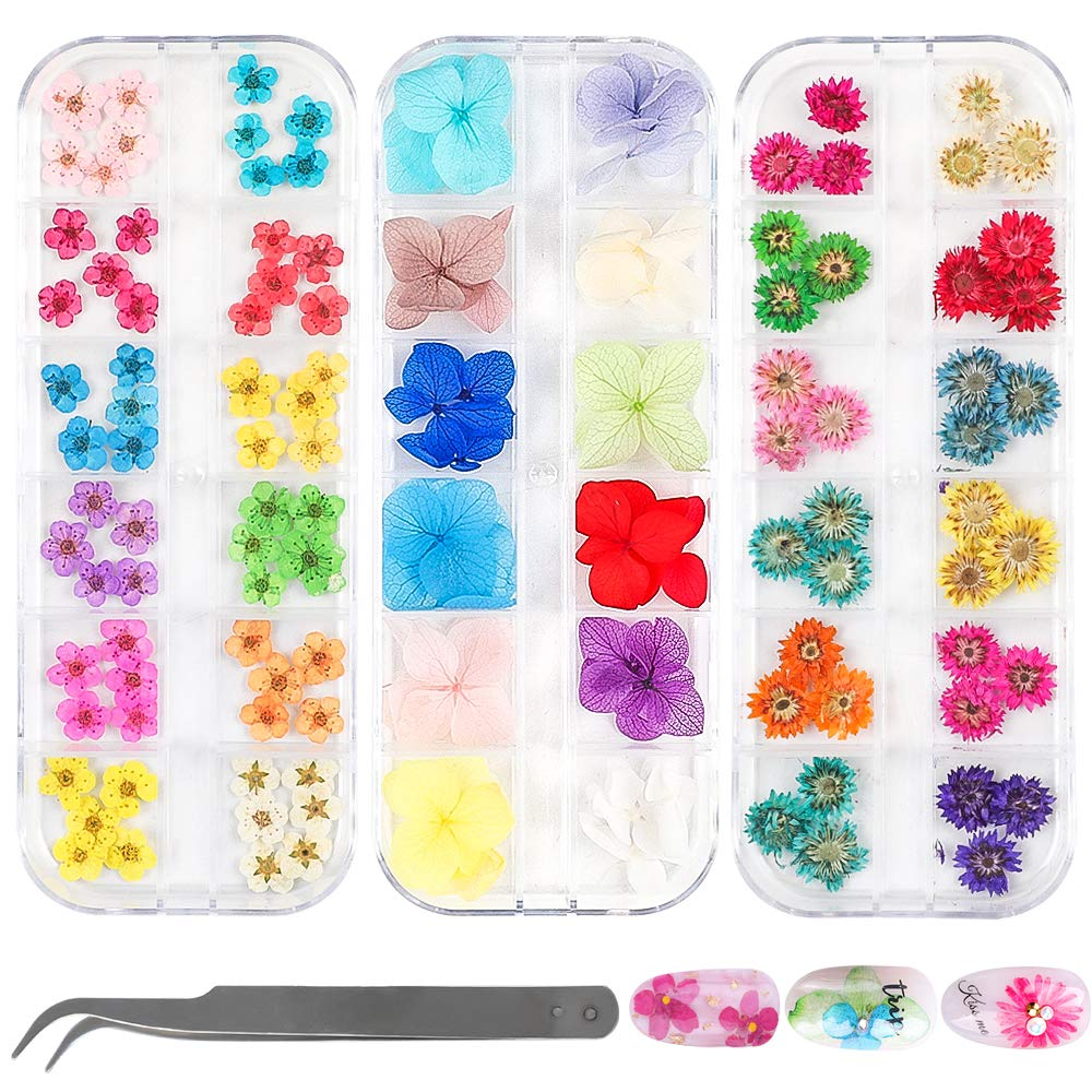 LIMGLIM 132pcs Nail Dried Flowers 3D Nail Stickers Supplies 3 Boxes 36 Colors Mini Natural for Nail Art Supplies Decals Mixed Accessories, Starry Flower by LIMGLIM