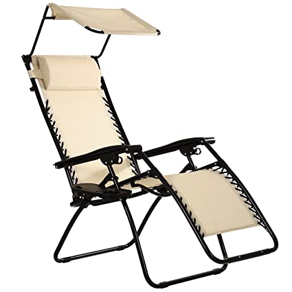 Charmant Ollieroo Beige Zero Gravity Canopy Sunshade Lounge Chair With Pillow And  Utility Tray Adjustable Folding Recliner