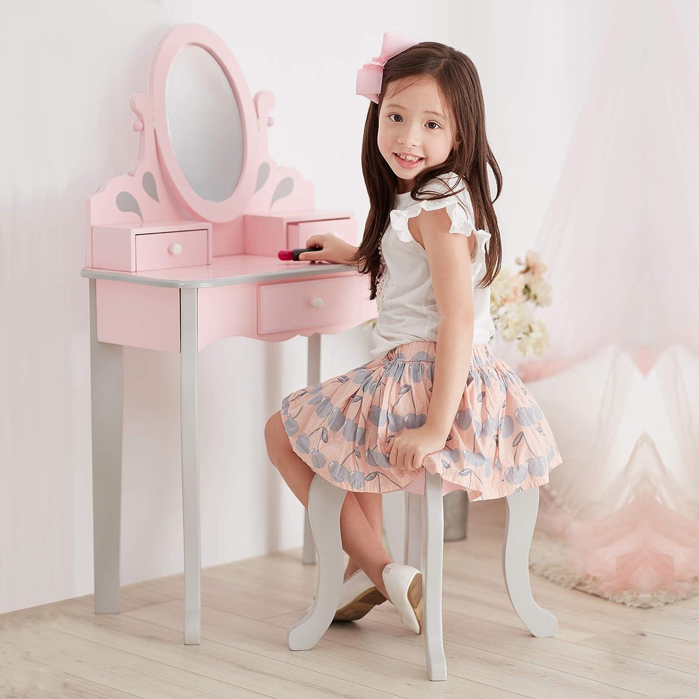 Teamson Kids- 1 x tocador, Color Rosa/Gris