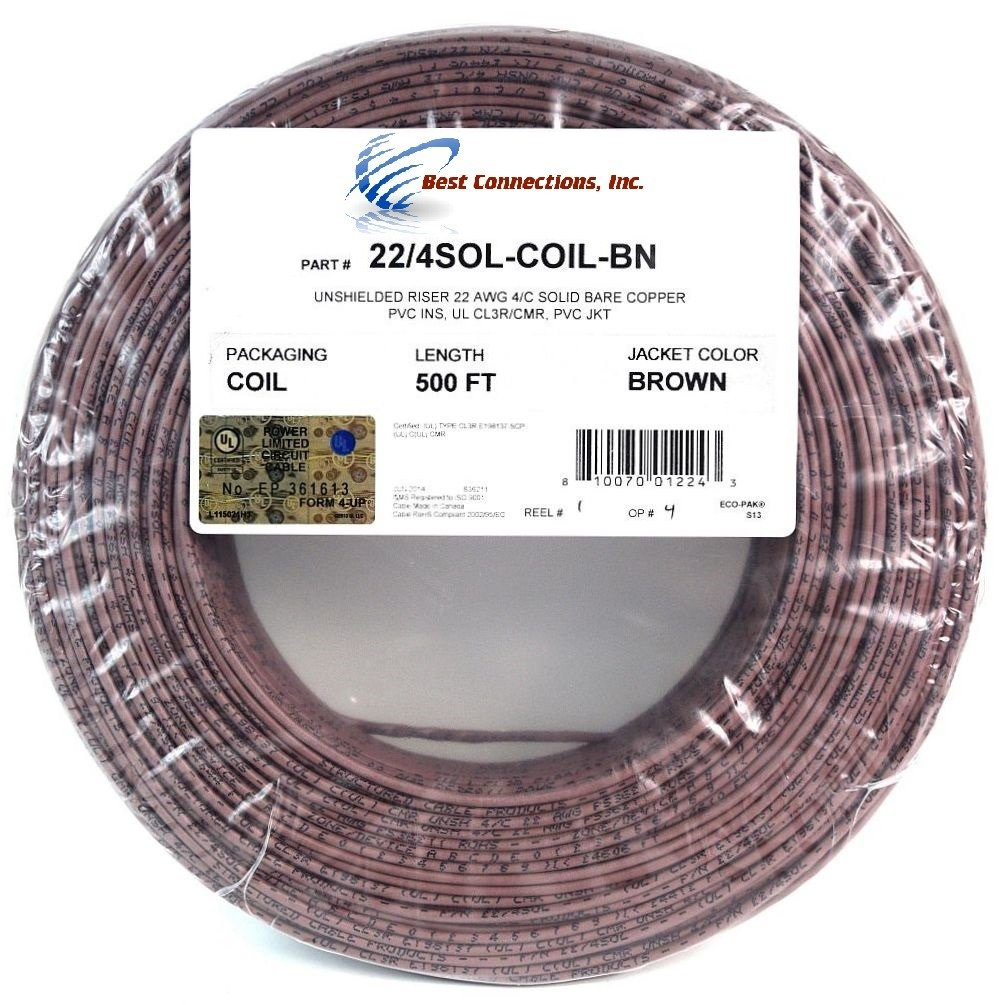 Amazon.com: 500\' Feet Brown 22 Gauge AWG 4 Conductor Solid Copper ...