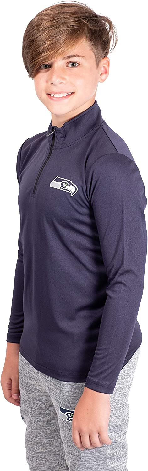 Ultra Game NFL Seattle Seahawks Boys Quarter Zip Pullover Athletic Quick Dry Long Sleeve Tee Shirt 18-20 Navy