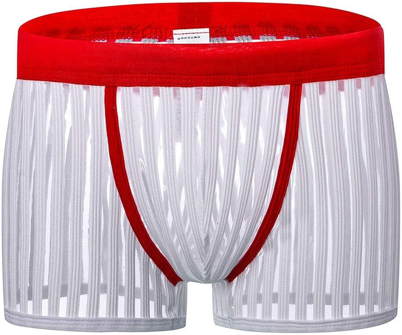 Men Transparent Boxer Shorts Net Striped Mesh Underwear Breathable Summer Cool