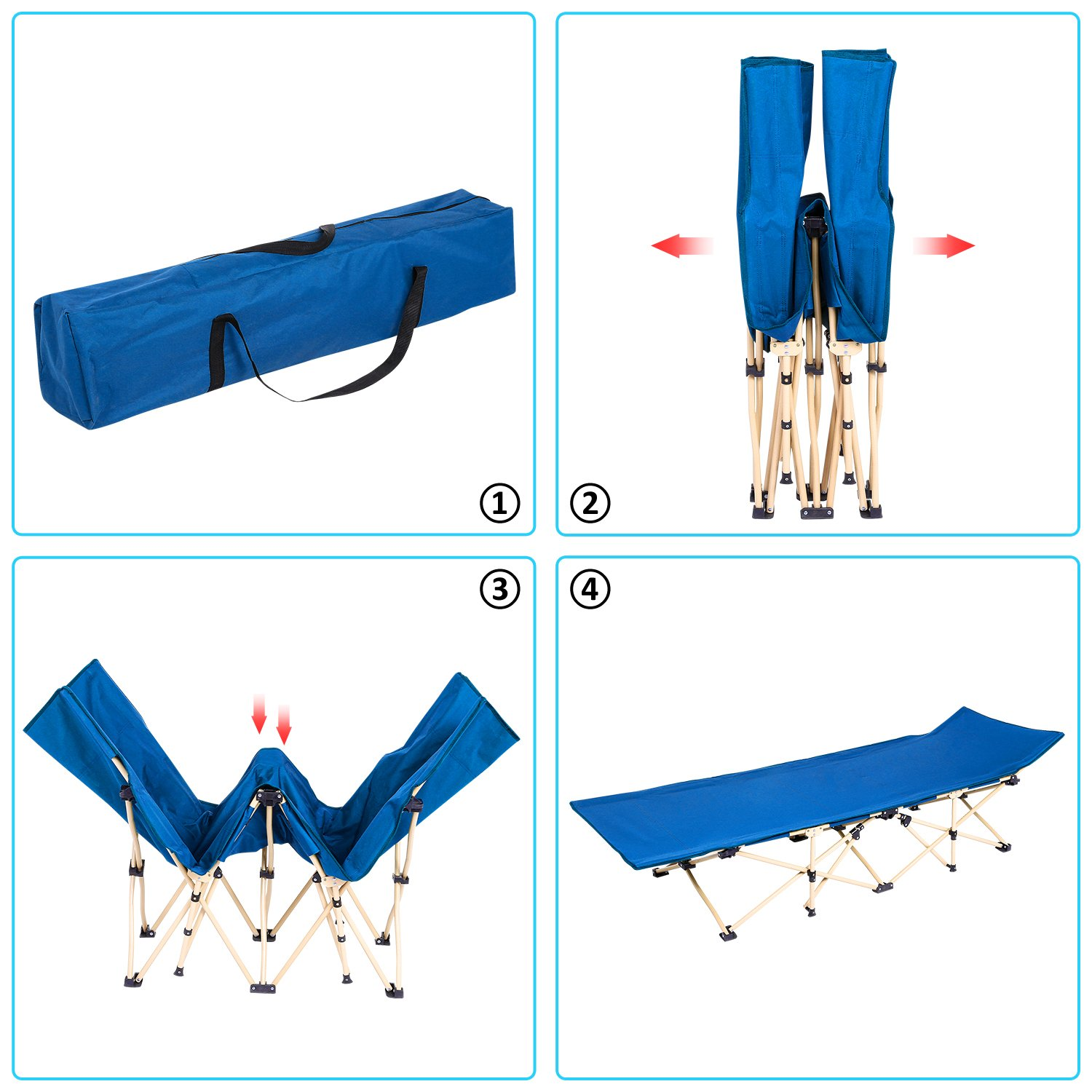 Portable Easy Set Up Sleeping Cot with Carry Bag for Outdoor Home Office ANCHEER Folding Bed Camping Cot