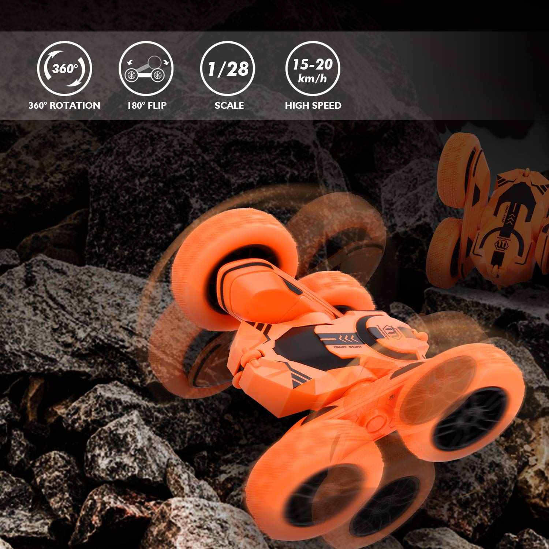 Peradix Macchina Telecomandata, 4WD RC Auto Telecomando 360° Rotazione Acrobatica RC Stunt Car, 2.4GHZ Macchina Radiocomandata per Bambini Giocattoli - (Batteria e Cavo di Ricarica USB Inclusa)