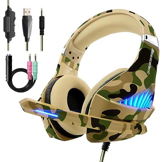 Cascos auriculares Premium Stereo con Microfono para PS4 PC Xbox one (Ultrabass,Cancelacion ruido,Diadema Acolchada y Ajustable,Microfono Unidireccional ...