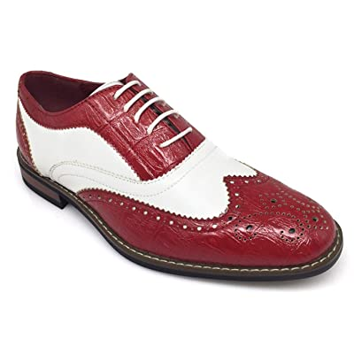 Amazon.com | AC3D Men's Oxfords Shoes Wing Tip Lace up Two-Tone Alligator Print Leather Lined Brogue Casual Dress | Oxfords