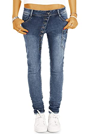 be29f098d362 BeStyled Tapered Damen Jeans mit schräger Knopfleiste - Baggy  Girlfriend/Boyfriend Fit - j11l
