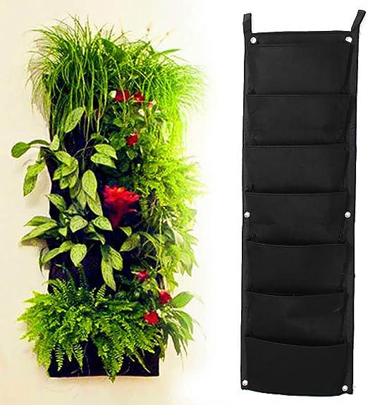 MMRM jardín Vertical maceta Multi bolsillo soporte de pared bolsa de vida creciente fieltro interior/exterior (7-Pocket: Amazon.es: Jardín