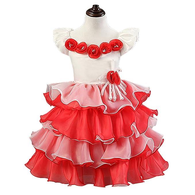 Happy Cherry - Falda Vestido de tul de Fiesta para Niñas Bebés para Boda  Wedding Ceremonia 11f9b4b1fd6c