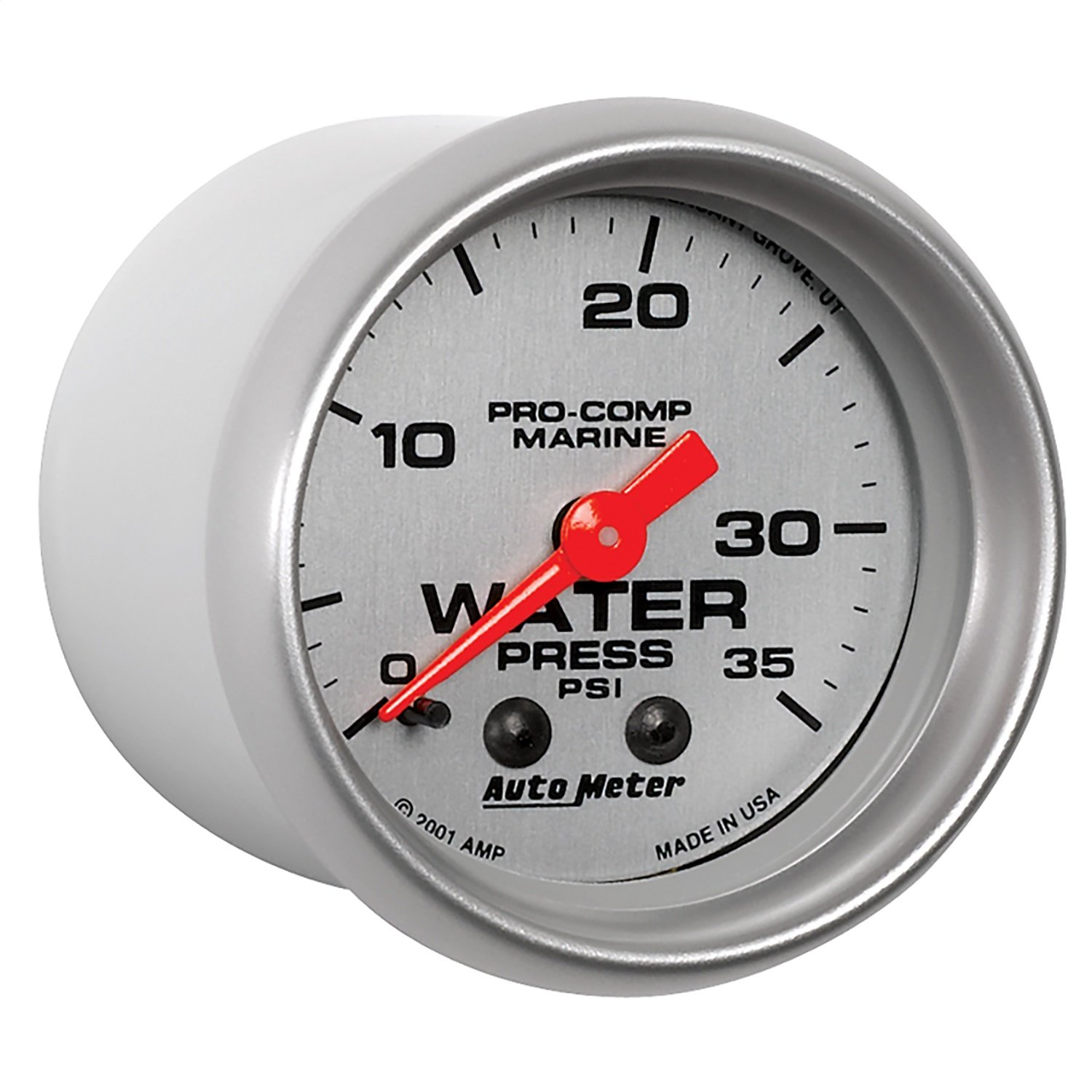 AutoMeter 200772-33 Marine Mechanical Water Pressure Gauge 2-1/16 in. Silver Dial Face Brushed Aluminum Bezel by Auto Meter