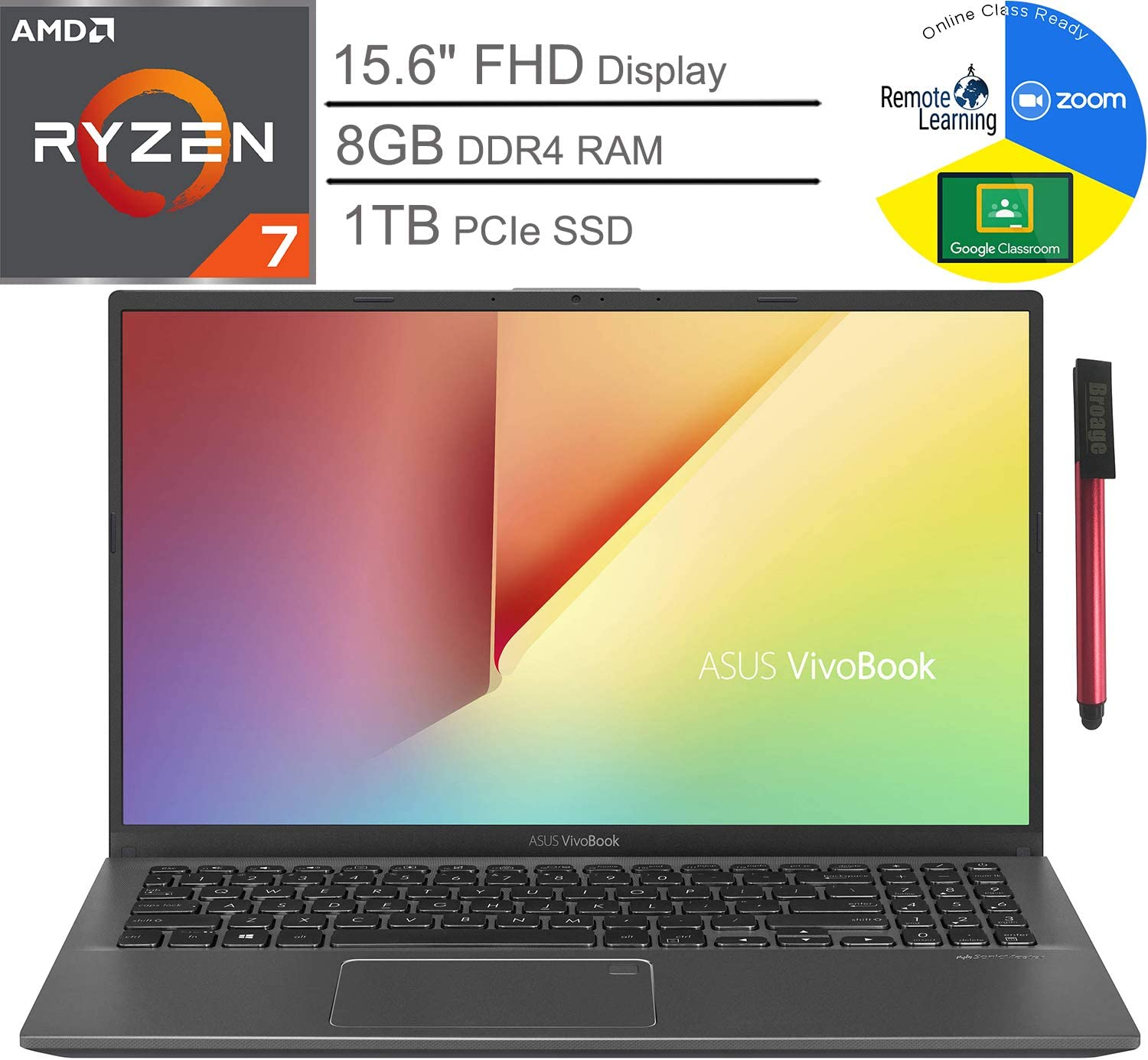 "ASUS VivoBook 15 15.6"" FHD Laptop Computer_ AMD Quad-Core Ryzen 7-3700U up to 4.0GHz (Beats i7-8565U)_ 8GB DDR4 RAM, 1TB PCIe SSD_ Webcam_ Windows 10_ BROAGE 64GB Flash Drive_ Online Class Ready"