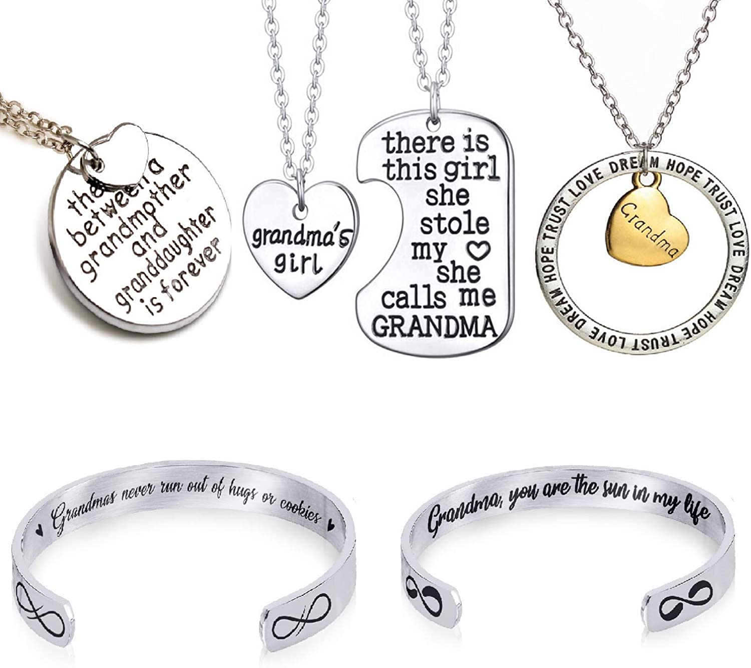 Set of 5 Grandma Pendant Necklaces and Bracelets - Perfect Girl for Grandmothers Granddaughters