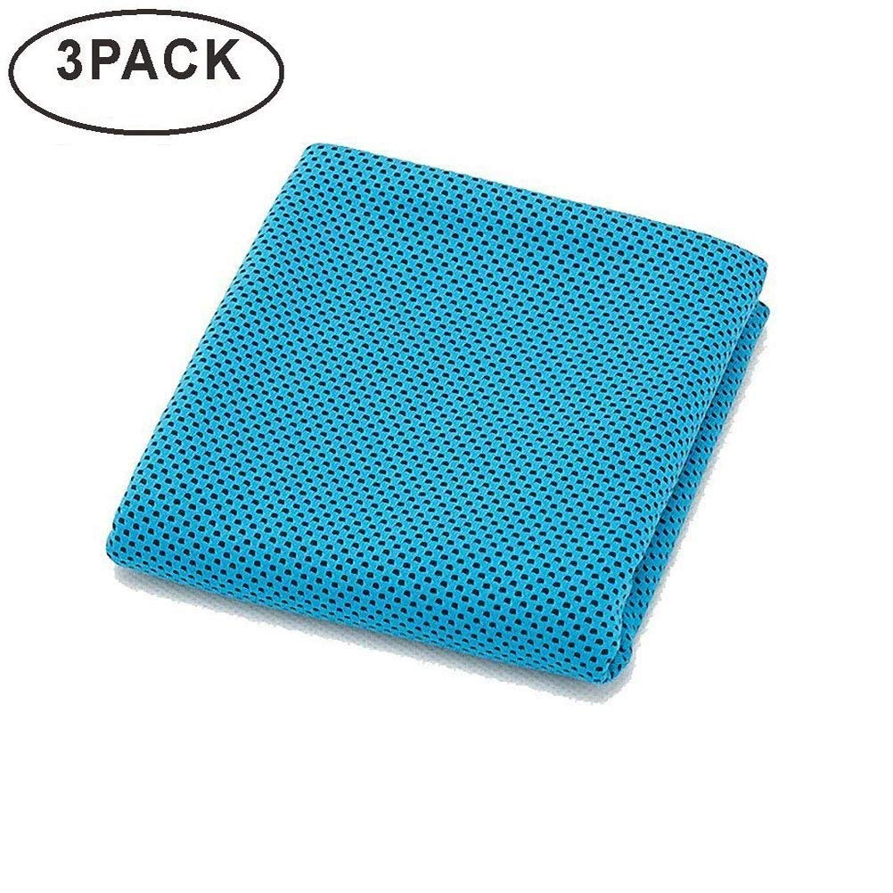 aocare冷却タオルスポーツタオルスナップクールタオル多目的スーパーソフト通気性タオルゴルフ、ヨガ、旅行、キャンプ、とジム B07DSPXCHN 3 Pack Blue 3 Pack Blue