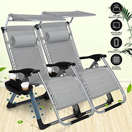 Heavy Duty Zero Gravity Outdoor Lounge Chairs Adjustable Folding Patio  Reclining Chairs Beach Chairs With Canopy