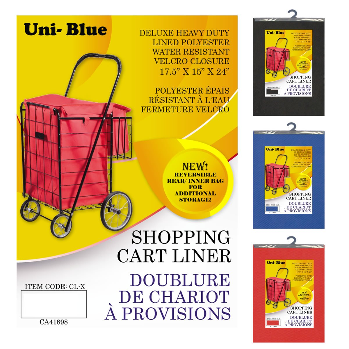 Uni-Blue CLX Heavy Duty Lined Polyester Shopping Cart Liner UBI Trading Co.