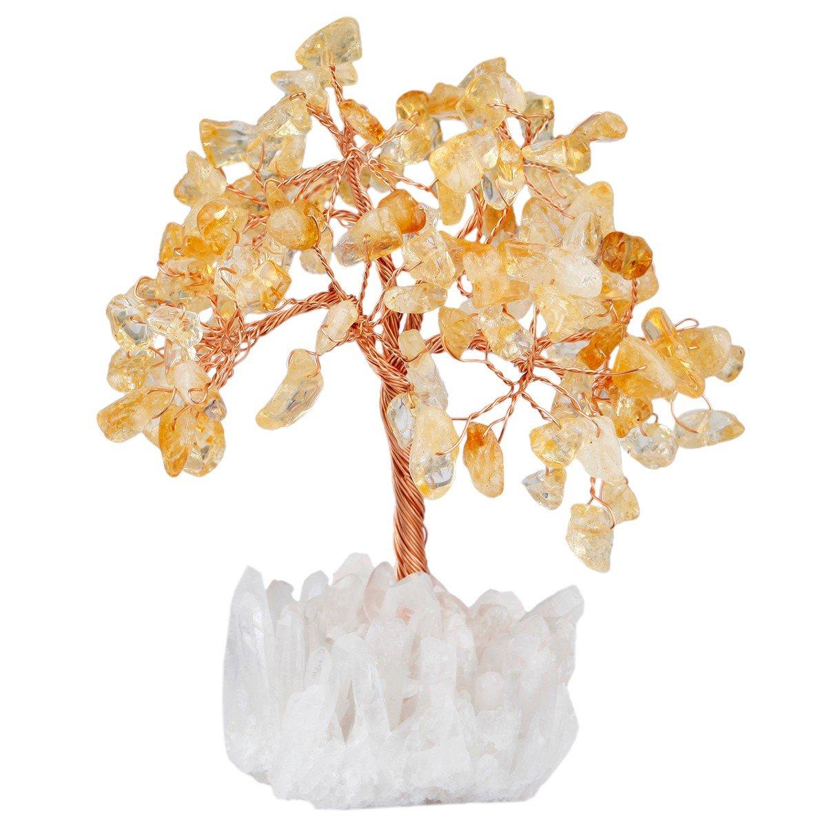 mookaitedecor Citrine Crystal Tree, Quartz Cluster Rock Crystal Base Bonsai Money Tree for Wealth and Luck