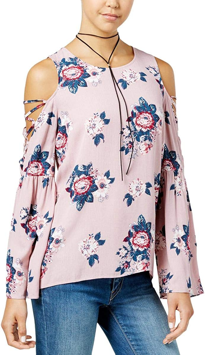 Hippie Rose Juniors Printed Bell-Sleeve Cold-Shoulder Top