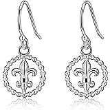 Sterling Silver Petite Filigree Fleur De Lis Design Dangle Drop Earrings
