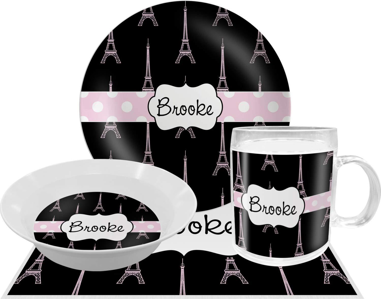 Black Eiffel Tower Dinner Set - 4 Pc (Personalized)
