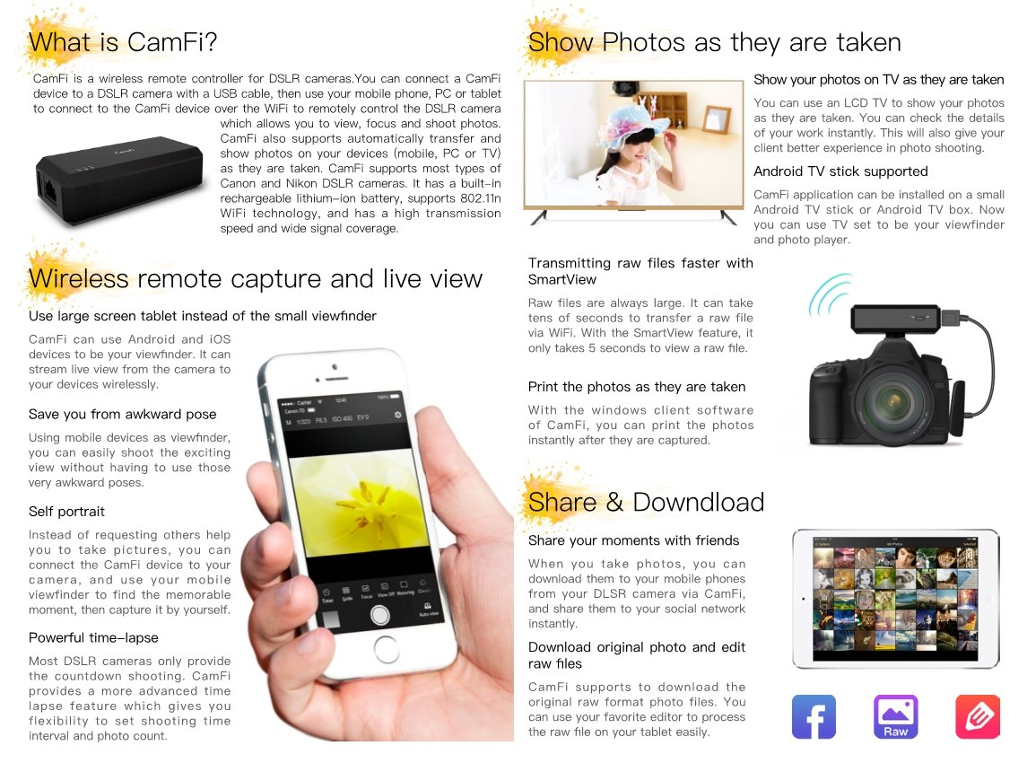 CamFi Wireless Remote Control Camera, Elecguru Capture & Transmit Wirelessly Instantly on Tablets, iPhone, PC, or TV for Canon, Nikon (Camera NOT Included)