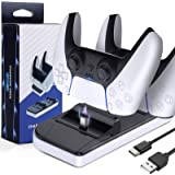 LORDSON PS5 Controller Charger, Dual USB Charging Dock Stand [Can Charge with Skin Protector On] Portable Base Station with T