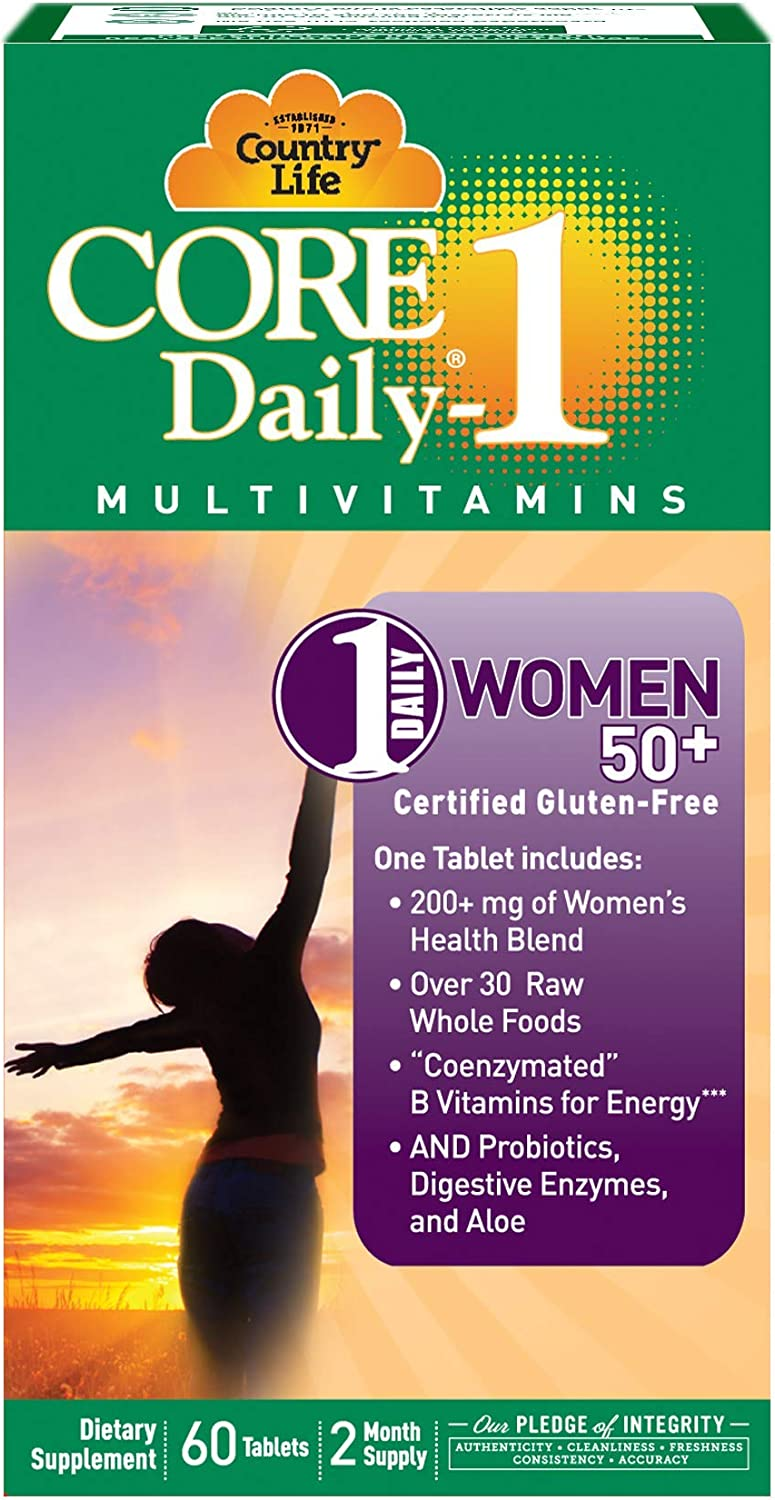 Country Life Core Daily-1 for Women 50 Plus - 60 Tablets - 200+mg of Women's Health Blend - Over 30 Raw Whole Foods