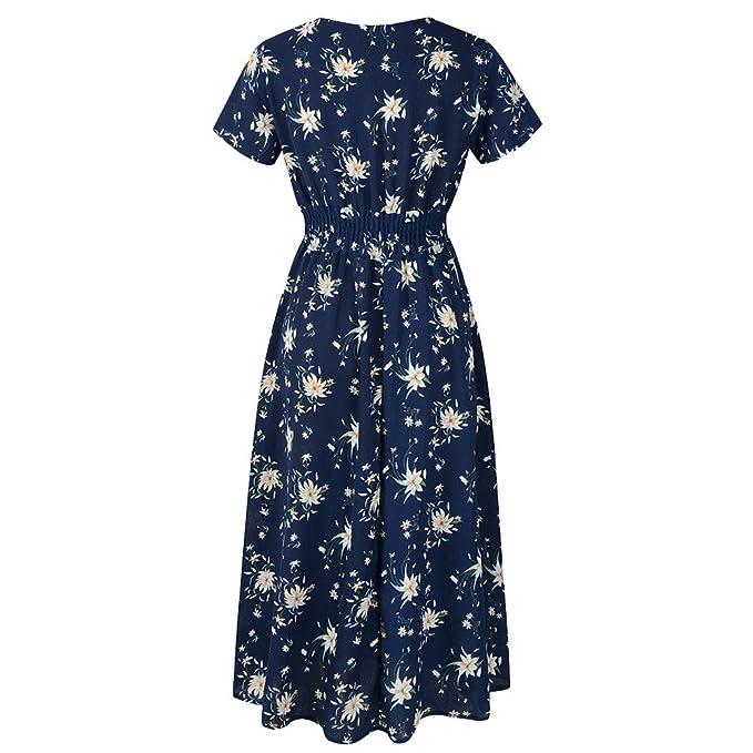 Covermason Mujer Gasa Cuello en V Floral Impresión Vestido ...